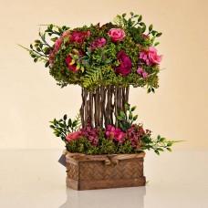 Arreglo Floral Rosas Rosado con maceta café