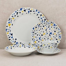 Vajilla de 20 piezas 4 puestos Geométrico Borde Azul / Amarillo Haus