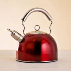 Tetera de acero inoxidable para inducción 2.5 L Rojo / Mango Silver