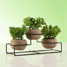 Juego de 3 plantas artificiales Verde con base / maceta