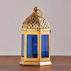 Farol / Porta votiva colgante Azul / Dorado Haus