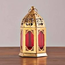 Farol / Porta votiva colgante Rojo / Dorado Haus