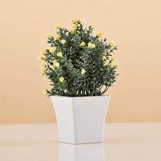Planta artificial pequeña con maceta blanca Haus