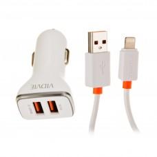 Cargador para auto con cable Lightning 2 USB / 2.4mAh VIDVIE