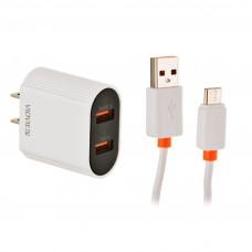 Cargador de pared con cable Tipo-C 2 USB / 2.4mAh VIDVIE