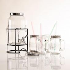 Dispensador para bebidas con tapa hermética con jarros y sorbetes Old Fashioned Navigator