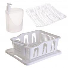 Escurridor para platos con protector de lavaplatos / dispensador para jabón de cocina 3 piezas