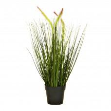 Planta artificial Espiga con flor y maceta Haus