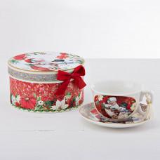 Juego de taza y plato para té Santa / Snowman con caja de regalo