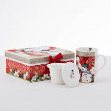 Jarro para té con infusor 3 piezas Santa / Snowman con caja de regalo