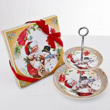 Fuente para bocaditos Santa / Snowman con caja de regalo