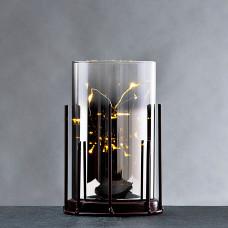 Cilindro decorativo con base y luz LED LED a batería Haus
