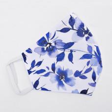 Mascarilla antifluido con ajuste en las orejas Flores Azul