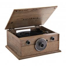 Tocadiscos de 3 velocidades BT / AUX / Radio FM / Parlantes incorporados / Control perillas VTA-245B-FOT Natural Victrola