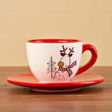 Juego de taza y plato para té Reno Ho Ho Ho