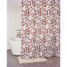 Cortina para baño con 12 ganchos Mosaico Novo
