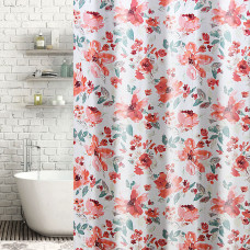 Cortina de baño con ganchos Flores Coral / Verde Haus
