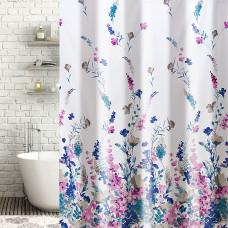 Cortina de baño con ganchos Flores Lila / Azul / Fucsia Haus