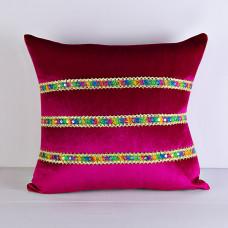Forro para cojín Cinta Multicolor Terciopelo Poma Rosa
