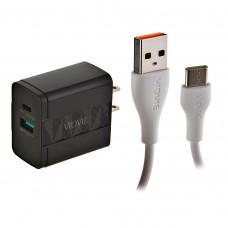 Cargador para pared con puerto Tipo-C / USB y cable Tipo-C PLM330C/TC VIDVIE