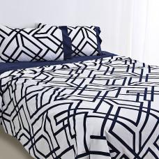 Juego de sábanas Geométrico Blanco / Azul Mihos