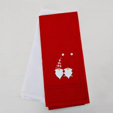 Juego de 2 toallas para cocina Rojo Nomos / Blanco sólido San Pedro
