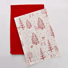 Juego de 2 limpiones Rojo / Trees Estampado Haus