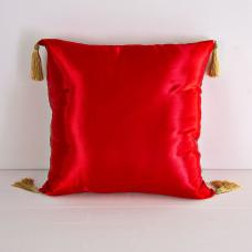 Cojín relleno con borlas Rojo Satín Haus