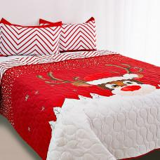 Juego de cubrecama Reno / ZigZag Rojo Navidad Noperti