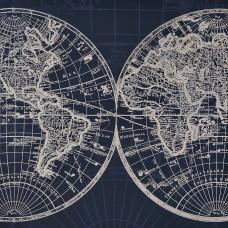 Cuadro Mapa Mundi 80x80 cm azul/blanco