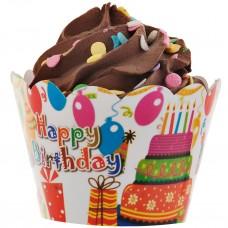 Juego de 25 envolturas para cupcake Happy Birthday