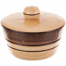 Salsera con tapa redonda de madera