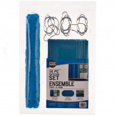 Juego de cortina, ganchos y alfombra Azul Ginsey