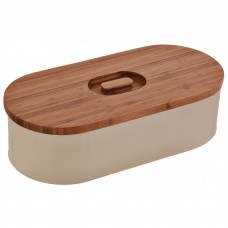 Panera ovalada con tapa de madera Haus