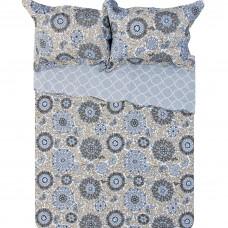 Juego cubrecama Quilt Flores azul/habano 100% algodón Haus