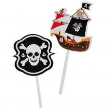 Juego de 12 pinchos para cupcake Piratas