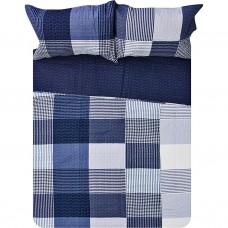 Juego de cubrecama Quilt Cuadros Azul Haus