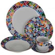 Vajilla de 20 piezas 4 puestos Redonda Multicolor Haus