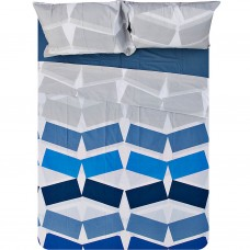 Juego de sábanas Nereo Azul 150 hilos 100% algodón Saafartex