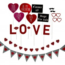 Gafas / Bigote / Letreros Valentine's Day