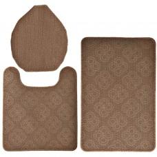 Juego de 3 alfombras de baño con antideslizante Círculos 100% polipropileno