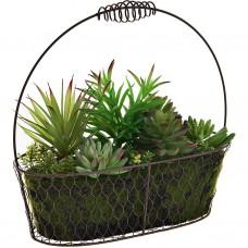 Planta con maceta ovalada de alambre plástico / espuma