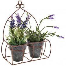 Juego de 2 plantas con flores y maceta plástico / espuma / hierro