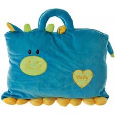 Cojín bolso azul con cobija verde 100% poliéster