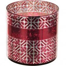 Porta velón de vidrio Geométrico Dorado / Rojo Haus