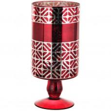 Porta velón con pie de vidrio Geométrico Dorado / Rojo Haus