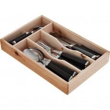 Juego de cubiertos con organizador de madera acero inoxidable / plástico