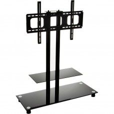 "Mesa de TV con columna hasta 60"" de vidrio negro"