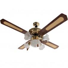 """Ventilador de techo 4 aspas / 5 focos decorativos 120 V / 75 W 52"""""""