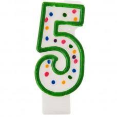 Vela cumpleaños número 5 Borde Verde Puntos Wilton